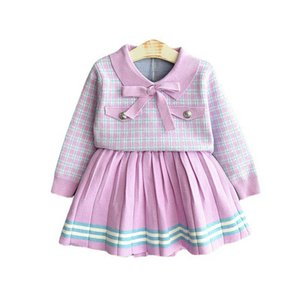 Girls Sweater Sets Kids Clothing Baby Clothes Outfits Autumn Winter Plaid Long Sleeve Knitting Patterns Sweaters Tops Short Skirts Children Suits 2Pcs B8368