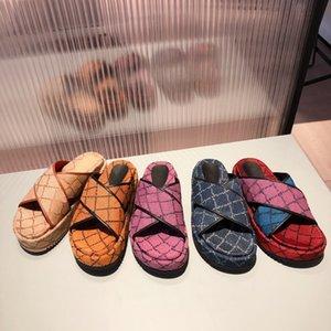 Luxury Multicolor Platform Sandal Flat Slides Designer Sandals Embroidery Printing Beige Brick Denim Thick Bottom Slippers Summer Beach Shoes 298