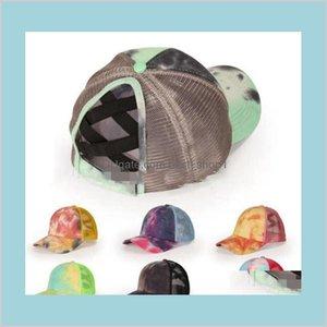 Tye Die Criss Cross Ponytail Baseball Cap Outdoor Sports Unisex Sun Hat Trucker Adjustable Summer Girls Ljjo8306 Baby Kids Materni Qqzwl