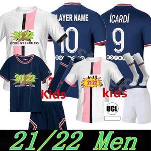 Paris 2021 2022 MBAPPE Fussball Jerseys Hakimi Marquinhos PSG Sergio Ramos 21 22 MAILLOTES DE Football Hemd Verratti Männer Kinder Kit Uniformen Enfants MAILLOT Fuß 05