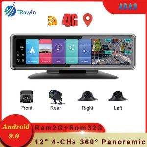 """Coche Video 4 Cámaras 4G Android 9.0 Dashcam Recorder 12 """"Toque completo TOUCH DVR 360 ° Panorámica retrovisor 4CHS WIFI ADAS GPS Navegación"""