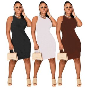 Designer Women Casual Dresses Sleeveless Printed Summer Dress Bodycon Crew Neck Sundress One Piece Skirt Package Hip Mini Skirts White Black Party Outfit S-2XL 5486
