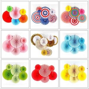 Chinese Printing Vintage Wheel Tissue Paper Hanging Fans Flower Craft Birthday Party Wedding Baby Shower Setting Wall Decoration BWF9037