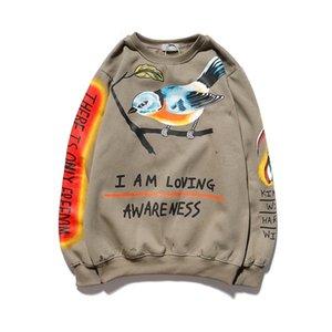Kanye Graffiti Schädel Bird Print Hoodie Muster Fleece Sweatshirt Männer Frauen High Street Sherpa Streetwear Fremder Sehenswürdigkeiten Hoodies X0525
