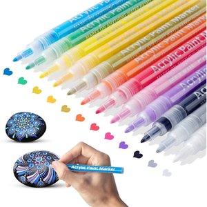 الاكريليك الطلاء الأقلام paintmarkers مجموعة مقرها المياه ماركر القلم غرامة الطرف ل diy الحرفية قماش السيراميك الزجاج الخشب الحجر WLL606