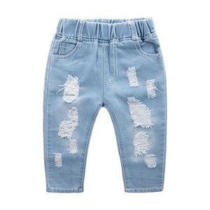 Moda Çocuk Yırtık Kızlar Denim Pantolon Gençler Erkek Toddler Kot Çocuk Giysileri 2610 Q2