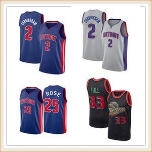 "Detroit ""Kolben"" Basketball-Trikots Cade 2 Cunningham Jersey Grant 33 Hill Derrick 25 Rose Isiah 11 Thomas Dennis10 Rodman 999"