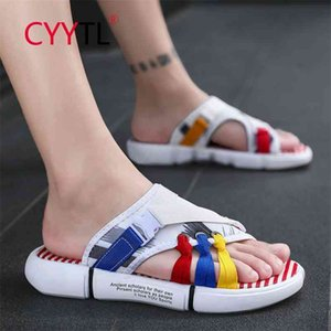 CYYTL Colorful Men Summer Fashion Slippers Outdoor Beach Shoes Soft Home Sandals Non-Slip Claquette Hausschuhe 210622