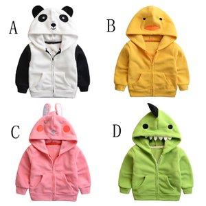 Autumn and Winter Europe Lovely Polar Fleece Embroidery Coat Cartoon Panda Children Jacket Zipper Hooded Boys Girls Outwear