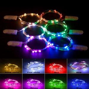 1m 2m 3m 5m Button LED CR2032 Batteriebetriebene Micro Mini LED String Licht Kupfer Silber Draht Sternenrige Rebe Licht String für Hochzeitsdekoration