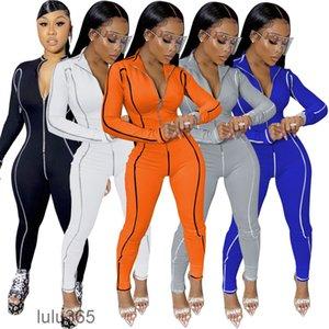 2021 Wholesale Women Jumpsuits Rompers Fashion Bodysuit Onesies Zipper Stand Collar Line Stitching Slim One Piece Ladies Clothes lulu365
