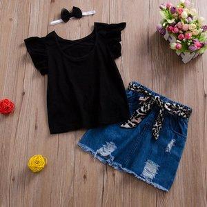 Conjuntos de roupas 2021 Verão 2 Pcs Moda Infantil Ruffles Manga Rodada Pescoço T-shirt Denim Curta Saia Para Criança Baby Girls