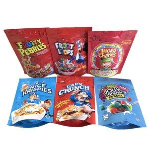 Vacías de los encantos de la Lucky Bolsos Froot Loops Cap'n Crunch Fruity Guijarros Jolly Rancher Rice Krispies Tostado Cereal Mylar Bolsa Empaquetado