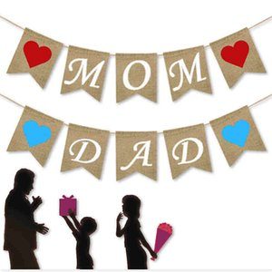 1 Set Mother's and Father's Day Hanging Streamer Mabula Flag Plot Pennant Banner Party Decoration Supplies