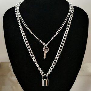 Collana a catena di blocco con ciondoli con pendenti a lucchetto per donne Uomo Punk Gioielli sul collo 2021 Grunge Egirt Egirl Egirl Accessori Eboy