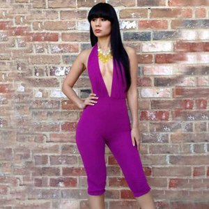 Tracksuit Sexy Deep Women Romper V Neck Purple Party Club Backless Bodycon Shorts Playsuit