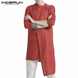 Camisa para hombre color sólido de manga larga algodón o cuello kurtas retro streetwear hombres irregulares camisas largas musulmanas incerun h6d6 #