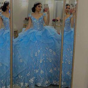 Amazing Off the Shoulder vestidos de quinceañera Sweet 16 Dress Blue Quinceanera Evening Dresses Lace Applique Prom Party Wear