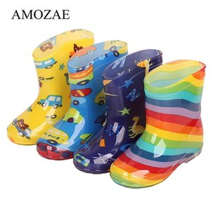 New Fashion Classic Children's Shoes PVC Rubber Kids Baby Cartoon Shoes Children's Water Shoes Waterproof Rain Boots 210326