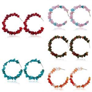 Красочные натуральные камня геометрические серьги Нерегулярные Серьги из бисера Круг обруч Серьги Мода Ювелирные Изделия для женщин Девушки 778 R2
