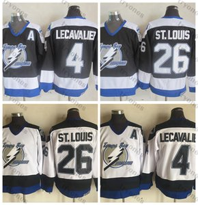 Mens Vintage Tampa Bay Lightning Hockey Jerseys 26 Martin St. Louis 4 Vincent Lecavalier Stitched Shirts Black White A Patch