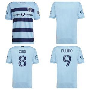 2021 2022 Sporting Kansas City Soccer Teberys Игрок Версия 2021 2022 Pulido Busio Russell Zusi Футбольные рубашки Домой Взрослый Майолот де Футон