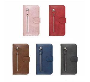 Cas de portefeuille en cuir à fermeture à glissière pour Samsung Note 20 Ultra LG Stylo 5 K41S K51S ID de pièces de monnaie Titulaire de caisse Slot Slot Magnetic Téléphone Magnétique Couvercle Porte-monnaie Lanyard