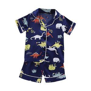 Kids Pajamas Dinosaur Print Nighdress Baby Boy Girls Sleepwear Button T Shirt Shorts Set Outfits Toddler 210915