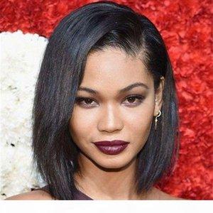 Tam Dantel İnsan Saç Peruk Yaki Düz Moğol Bakire Saç Peruk Siyah Kadınlar için 12 Inç Işık Yaki Bob Peruk