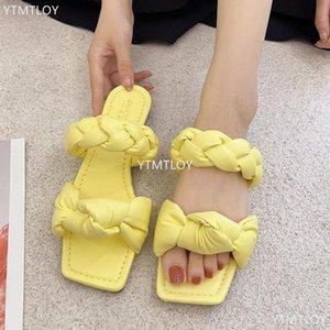 Kadın Terlik Yaz Sandalet Ytmtloy Rahat Plaj Ayakkabı Bayanlar Moda Flats Çevirme Slayt Ayakkabı 2021