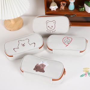 Cute cartoon large capacity pencil bags simple creative Japanese stationery bag girl student pencils case boy