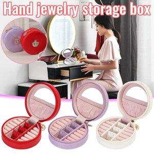 Scatola di immagazzinamento dell'orecchino dell'anello portatile con gli organizzatori di trucco dei gioielli della pelle dello specchio Organizzatore delle scatole delle scatole degli organizador de Maquillaje Bins