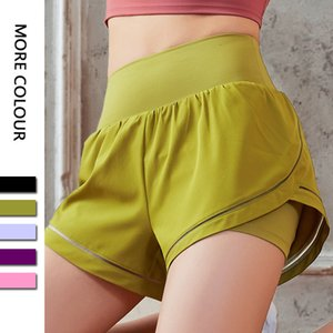 4 Inseam Loose Sports Hotty Hot Yoga Shorts Anti-exposure Quick-drying Woven Fake Two-piece Short Fitness Gym Clothes Women_gdy