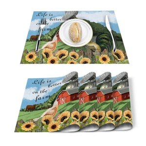 Table Runner 4 6pcs Farm Barn Cock Sunflower Kitchen Placemat Set Dining Mats Cotton Linen Pad Bowl Cup Mat Home Decor