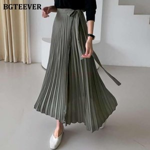 BGTEEVER Casual Lace-up Women Pleated Mid-length Skirts 2021 Spring High Waist Female A-line Long Skirts Elegant Loose