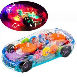 Universal Wheel Car Toys Music Baby Electric Transparent Visible Toothpieces Children Automatic Steering Light Up A0512 A0515