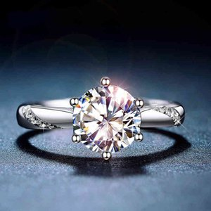 Classic 925 Sterling Silver Moissanite 1ct IJ color Lab Diamond jewelry Simple style Anniversary Ring