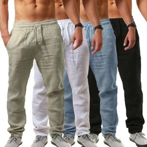남성 코튼 린넨 바지 스포츠 긴 바지 바지 탄성 포켓 Drawstring 바지 남성 솔리드 통기성 Pants_JD