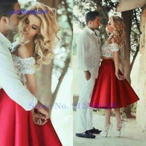 Party Dresses Short 2 Piece Prom A Line Lace Top Backless Tea Length Beautiful Charming Gown Vestidos De Fiesta