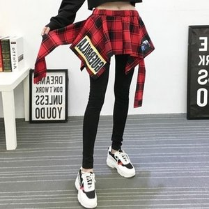 Women's Leggings False Two-Piece Bottoming Skort Print Thin Outer Wear Sports Dance Plaid Camouflage Hip-Wrapped Skirted 5VHC
