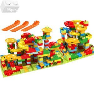 Small Particles Marble Race Run Block Variety Funnel Slide Track Building Blocks Sets Bricks DIY Kids Toys For Children Gifts Q0624