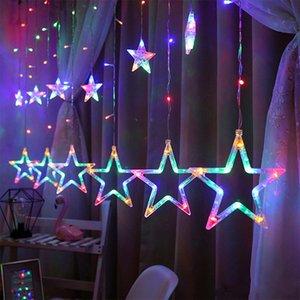 Christmas Fairy Lights Festoon Star Garland on Window Curtain strings Indoor Tree Decoration Halloween Wedding String Light