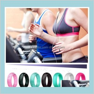 Jewelry Men Women Flexible Rubber Ring 57Mm Colored Outdoor Party Sports Gy9Bj