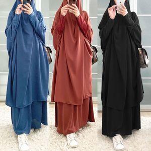Рамадан мусульманская молитва одежда набор одежды женщин с капюшоном Hijab платье Jilbab Abaya юбку наборы Длинные Химар Джеллаба EID платья Исламский Niqab