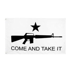 Fábrica direta Atacado 90 * 150 cm 3x5fts Gonzales Histórico M4 Carbin Gun Molon Labe Venha e pegue a bandeira GWB5968
