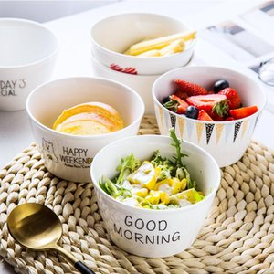 Breakfast Bowl Nordic Creative Cool Cute Couple's Household Tableware Ceramic Simple Net Red Ins Wind Rice Single Other Bowls