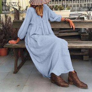 sets Stylish Leaf Day Mouw V-neck Maxi Long dress Zanzea Women's Herf Sunflower cloak Solid katoon Linen dresses Holiday Vestido