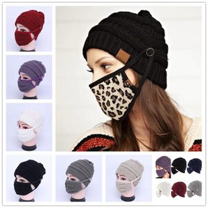 2pcs set Knitted Beanies With Face Mask Winter Reusable Washable Face Masks Knitted Caps Party Hats Cycling Masks LLA65