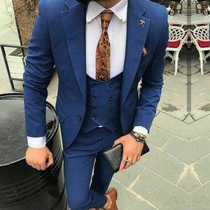 Мужские костюмы Blazers 3 шт. Формальные темно-синие Мужские мужчины Slim Fit Groom Tux Tuxedo для свадьбы на заказ мужская куртка