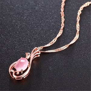 Heyue Japanese and Korean Sier Necklace Women's Flower Branch Hibiscus Stone Pendant Powder Crystal Clavicle Chain Accessories Rose Gold